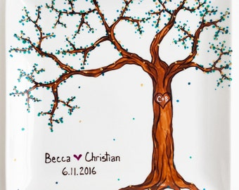Wedding Tree Hand Painted Personalized Platter - Personalized Wedding and Anniversary Platter, Custom Colored Leaves, Painted Wedding Plate
