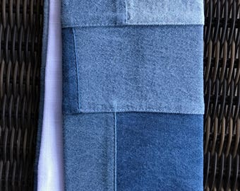 Denim Clergy Stole, retro patchwork!Reversible Pastor stole, lined in white linen.