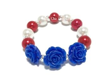 Toddler or Girls Royal Blue Flower Small Beaded Bracelet - Girls Red, White and Blue Bracelet - Triple Rose Bracelet - Patriotic Bracelet