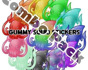 Gummy Squids Sticker Pack 12 stickers SALE