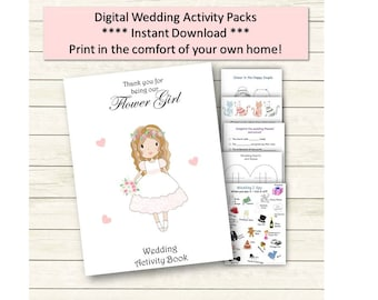 Printable Flower Girls Wedding Coloring Activity Book - Favour Suitable for all ages ** Digital file ** Instant Download