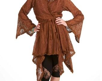 DRYAD FAE JACKET, brown lace boho wrap jacket, hippie hippy earth mama top xl, plus size pagan jacket top, faery elemental woodland wrap top