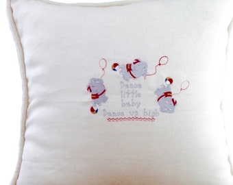 "Embroidered Pillow - Linen 23x23"" Baby Pillow with Poem - Dancing Elephants Large Baby Pillow"