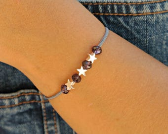 Star bracelet - beaded micro macrame - Bohemian crystal - dark purple and silver - lucky jewelry - casual chic and