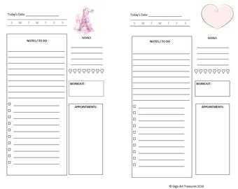 Daily Planner Layout - A5 Half Page - Paris Themed | Undated | White background