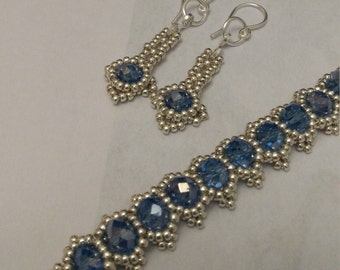 Something Blue bracelet and drop earrings set, Blue Crystal beads, Miyuki beads, Fine silver filled wire