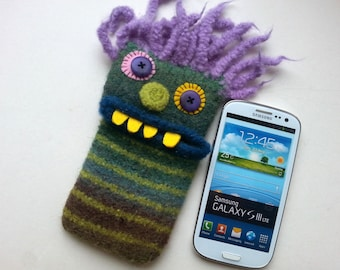"Smartphone mobile monster, cellphone, supervisor ""Harald"", wool, knitted, felted, felt, cell phone case, bag, Monster"