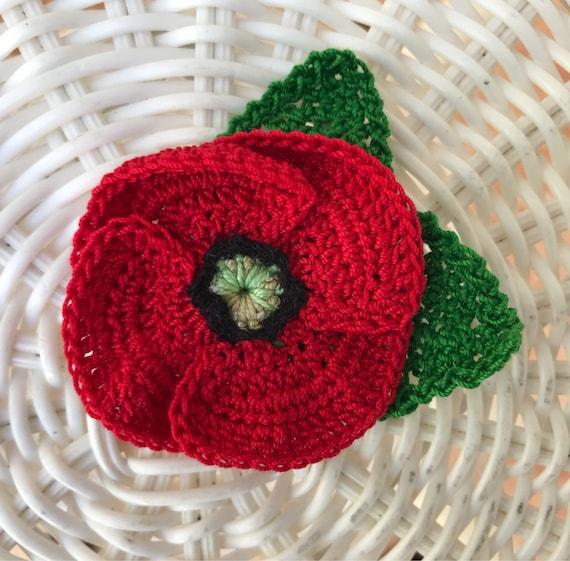 Crochet red poppy flower brooch red poppy pin veterans day mightylinksfo