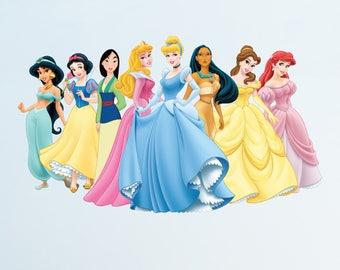 Disney Princess Wall Decal Sticker Bedroom Vinyl Kids Cinderella Belle Mulan Snow White Ariel etc