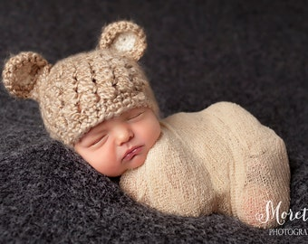 Baby Boy Bear Hat, Baby Bear Hat, Baby Hat, Newborn Bear Hat, Crochet Bear Hat, Coming Home Hat, Baby Shower Gift, Newborn Photo Prop