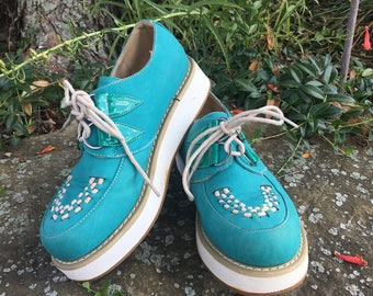 Vintage Platform Shoes / Teal / Grunge / 90's / Creepers / Leather / Blue / White / Platforms / Retro / Silver Hoops / Lace Up / Sneakers