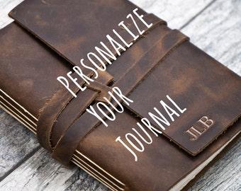 50% OFF - Personalized Premium Leather Journal Notebook or Sketchbook | Rustic Brown, Saddle Tan, Dark Brown