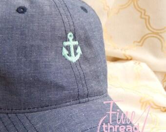 LADIES Mini Anchor Hat with Side Monogram Chambray Baseball Cap Hat Blue Denim Jean Nautical Beach Vacation Cruise
