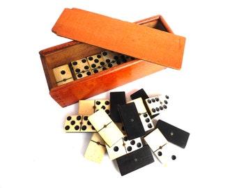 Antique Domino Set - Complete Set of 28 pieces Antique European dominoes. Ebony and Bone. Antique domino game. #642G3E8K22