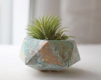 Geometric marbled teal cement planter - concrete, air plant holder, pot, planter