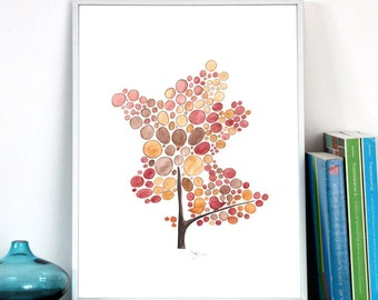 Annyversary Gift - Oval Leafed Tree - Giclee Art Print Reproduction of Watercolor Painting -Trees of Life Collection