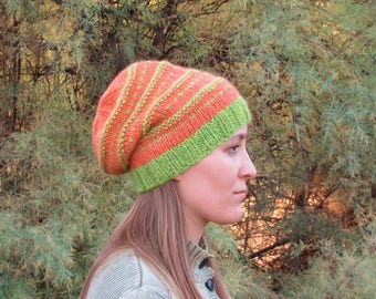 Handspun, Handknit Wool Slouchy Hat. Halloween Colors. Pumpkin Orange and Green, Slouchy Stylish Hat. OOAK.