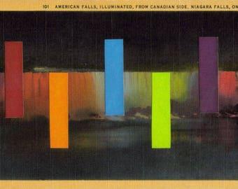 Original Art Collage, Abstract Artwork, Rainbow Color Decor, Niagara Falls Waterfall, Picture Postcard