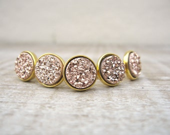 Rose gold druzy stud set, Bridesmaids gift, bridesmaid jewelry, 18k gold plated, druzy earrings, set of studs, rose gold earrings, raw stone