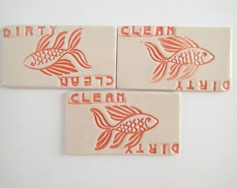 "Ceramic Dishwasher Magnet - Dirty or Clean Magnet - Clean Dishes - Dirty Dishes - Kitchen Magnet - non-scratching magnet -  Approx 1.5"" x 3"""