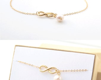 Mother of the Bride Gift - Gold Infinity Bracelet - 14K Gold Filled Chain - Infinity Symbol - Tiny Gold Infinity Charm - Pearl Bracelet