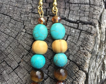 Turquoise, Tiger Eye, crystal & wood dangle earrings