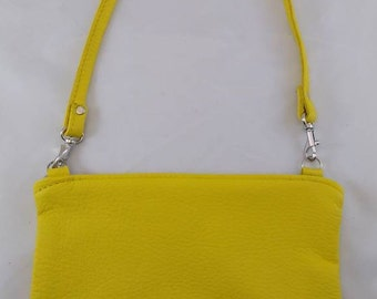 Yellow Leather Lg Urbana Wristlet Clutch Bag