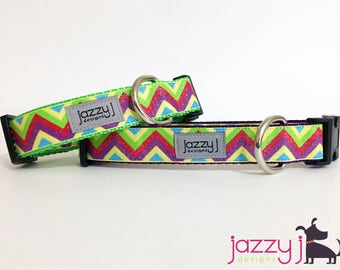 Yellow Glitter Chevron Dog Collar