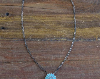 C&K Zuni Sterling Silver and Turquoise Inlay Flower Necklace