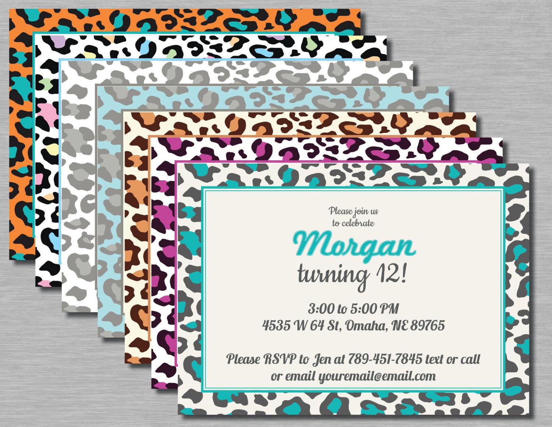 Printable Leopard Animal Print Birthday Party Invitation 7