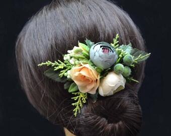 Gift ideas Flower headpiece Floral hair clip Flower girl clip Bridesmaid hair clip Bridal shower gift Bridesmaid accessories Wedding hair