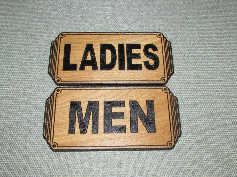 art deco style wood men ladies restroom signs set