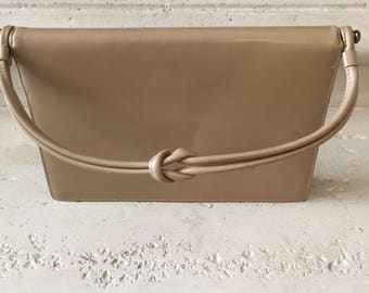Vintage Tan Leather Top Handle Handbag