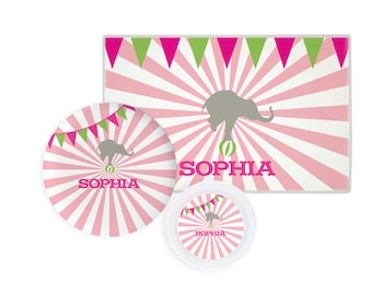 Personalized circus plate, circus bowl, circus placemat, kids dinnerware, plate with name, childrens plate and bowl set for girl