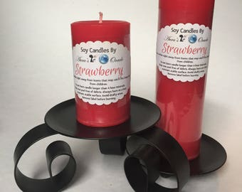 Strawberry Scented Soy Wax Pillar Candles