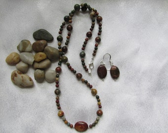 Red Creek Jasper Necklace and Ear Rings