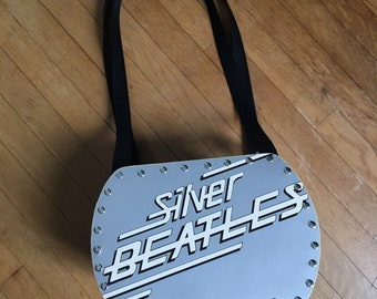 Bea - Silver Vinyl Record Purse with gray sparkle material