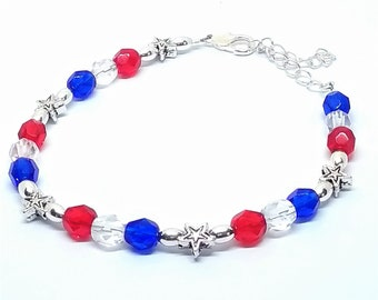 Patriotic red, white, and blue USA adjustable bracelet. Czech glass crystal beads
