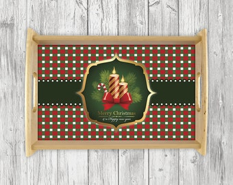 Christmas Serving Tray, Personalized Serving Tray, Personalized Wedding Gift,Monogram Tray, Serving Tray, Breakfast Tray, Breakfast in Bed