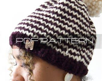 """Knitting Pattern . Beanie With Pom Pom . """"Beanie"""" . PDF pattern"""