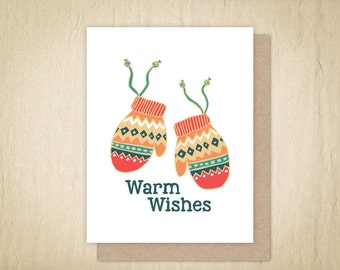 Warm Wishes Holiday Cards, Holiday Greeting Card, Illustrated Cards, Hand Drawn Christmas Card, Christmas Cards, Warm Mittens