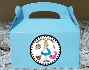 SALE! 12+ Labels Or Boxes & Labels 12 Alice In Wonderland Treat Boxes, Alice Gable Boxes, Onederland Party Boxes LOGO
