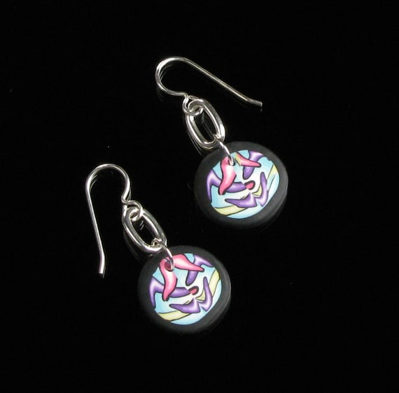 Colorful Modern Art Earrings, Modern Silver Earrings, Handmade Polymer Clay Earrings, Psychedelic Art, Unique Gift for Women, Gift for Her