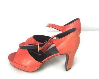 KRIZIA sandali vera pelle, sandali Krizia arancio, sandali tacco cinturino, scarpe cinturino estate,  sandali tacco numero 39