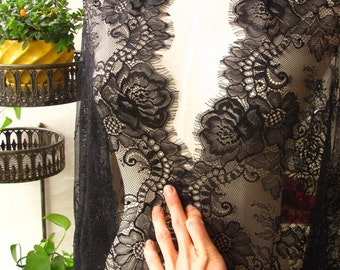 Gorgeous Chantilly Black Eyelash Lace Fabric Jacquard Flower Lace Mesh French Lace Gauze  25.5 inches Wide for Dress Veil Bodices 3 Meter