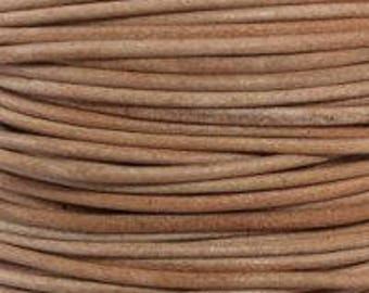 "2mm Round Natural Leather Lace Cord - 2mm 3/32"" Brown Beige Diameter Craft Jewelry Bracelet Wrap Necklace - I ship Internationally"