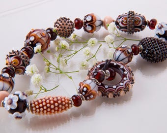 Handmade Lampwork Bead Set for Jewelry, Brown, White, Buttermilk Beads.