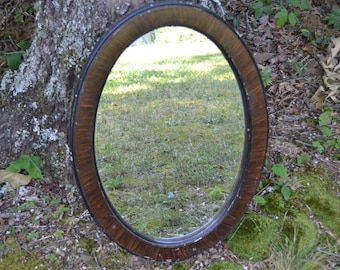 Vintage Oval Mirror Wooden Frame Rustic Home Decor Brown Hanging Framed Mirror PanchosPorch