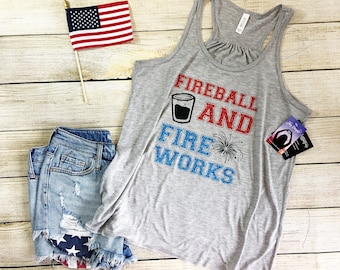 july fourth woman tank, 4th of july tank top, Fireball and fireworks, usa, drinking, america, merica, bella racerback tank, patriotic