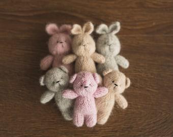 Knit Teddy Bear Stuffy,Mohair Bunny,Small Handknitted Toy,Crochet Teddy Bear,Crochet Rabbit Toy,Stuffed animal bear,Newborn Photography Prop